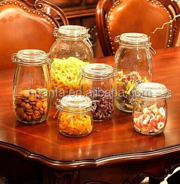 Home Borosilicate Glass food Storage Container Jar swing Top Lid and Metal Clip glass seal cans