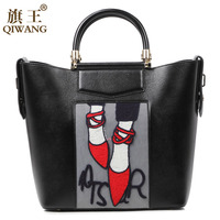 Qiwang Embroidery Shoes Handbag Luxury Brand 2016 High Quality Women's Real Leather Bag Paris Lady Tote C Handbag Hot Sales