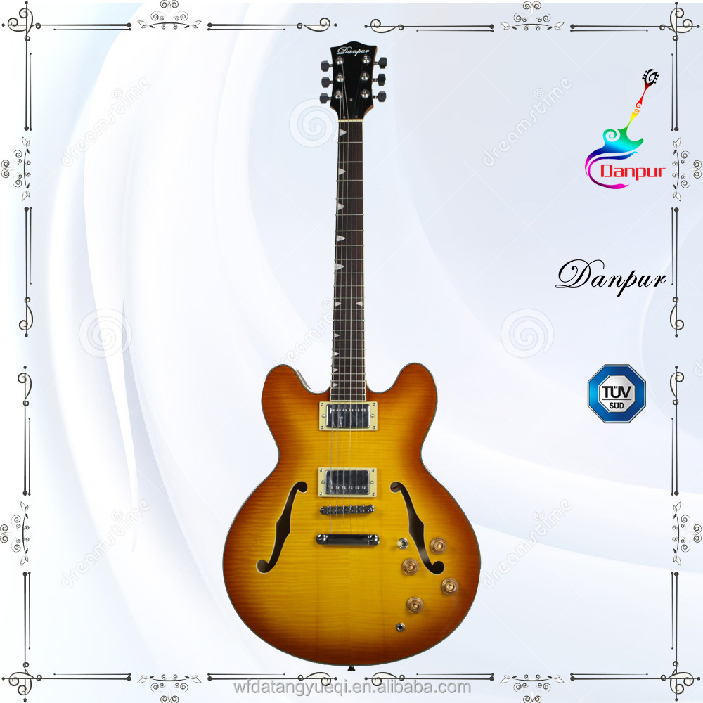 High quality f hole hollow body electric guitar