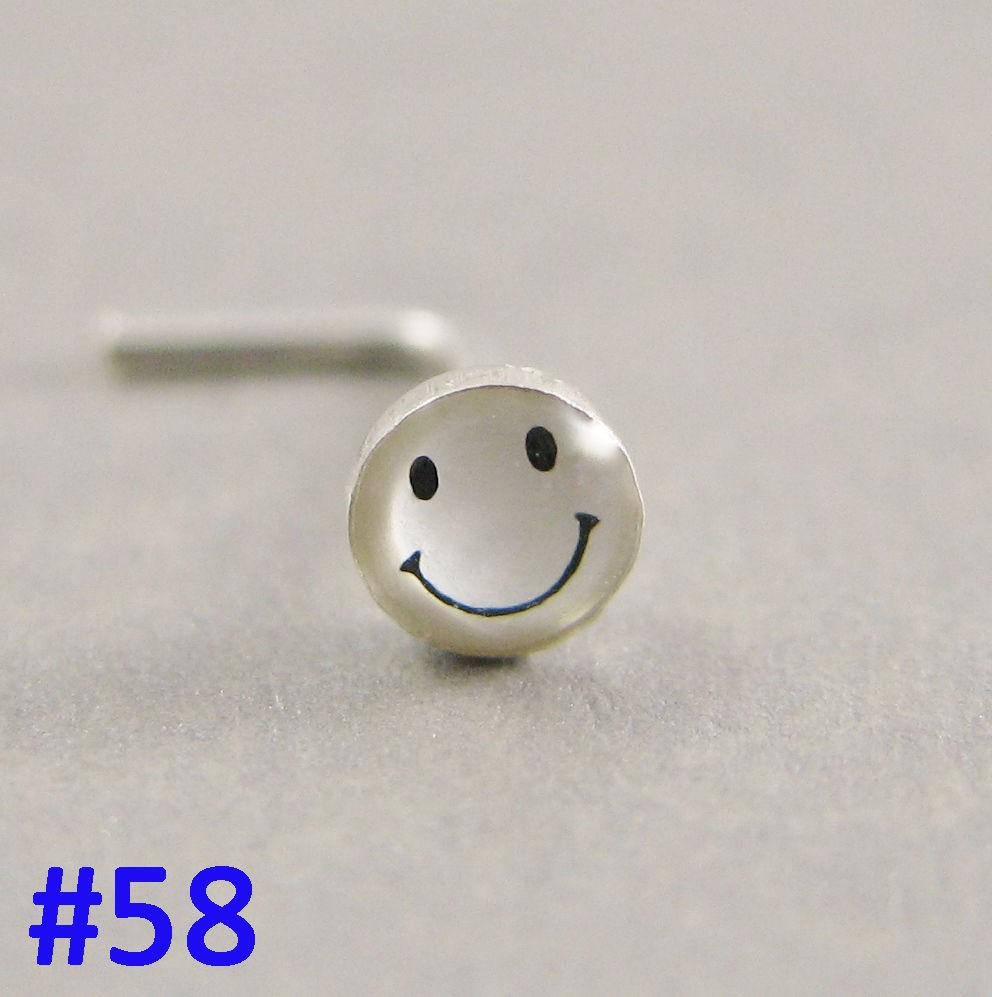 High quality epoxy L shaped nose ring with smiling face nose piercing