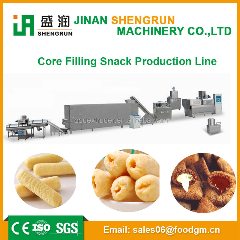 China extruder manufacturer corn starch core filling snack food manufacturing machine/China snacks food pellet processing line