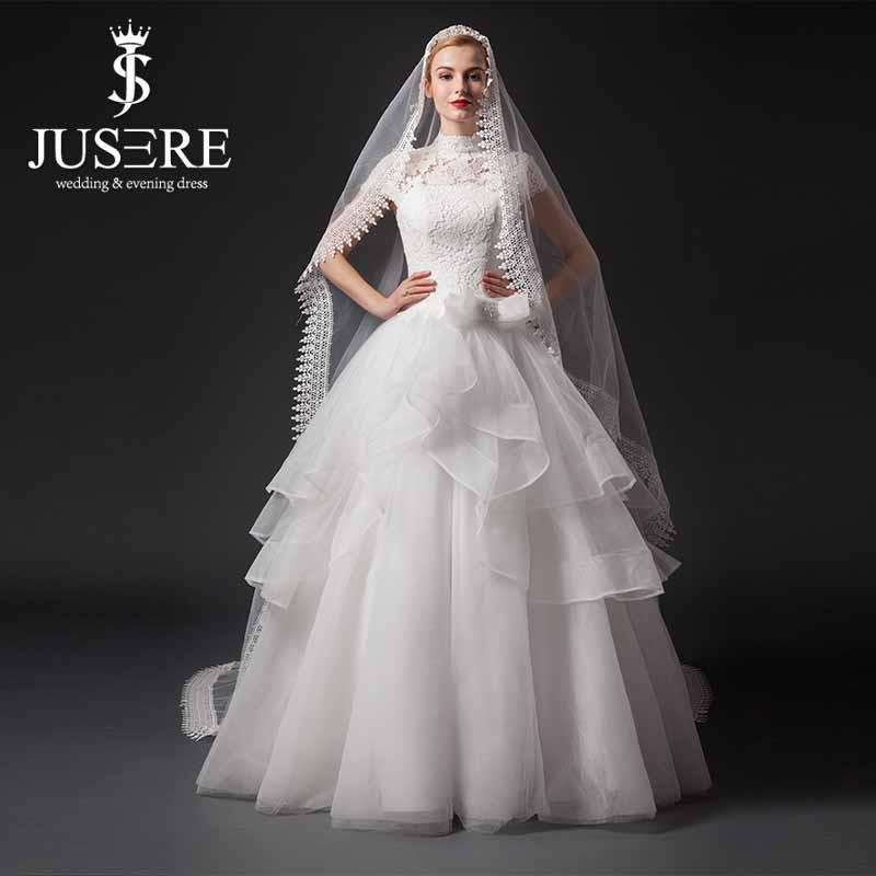 Traditional High Neck Capsleeve Lace Top Latest Bridal Wedding Gowns Pictures 2015