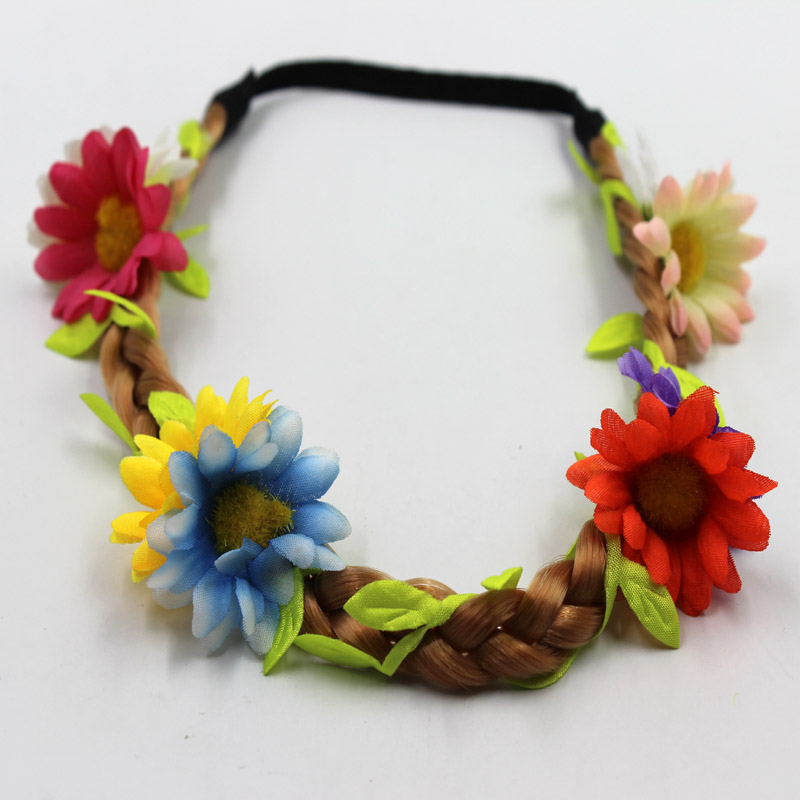 Artifical flowers braided colored fake hair headband for kids