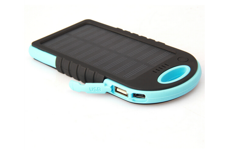 5000mah outdoor solar power bank charger Pocket solar panel powerbank with dual USB port and carabiner compass