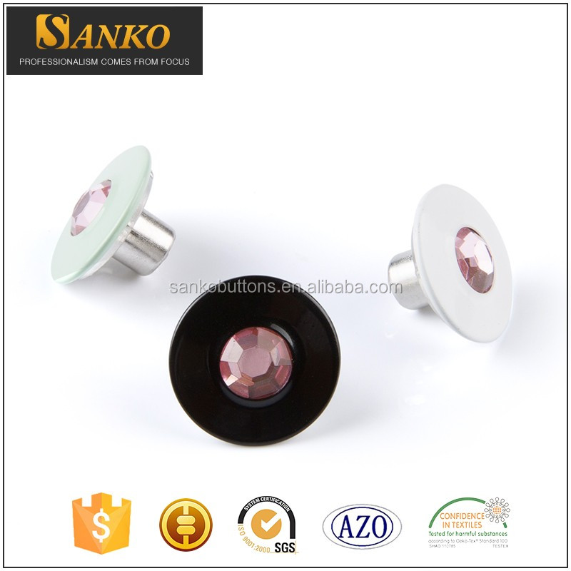 Wholesale price of fancy ladies crystal ring snap buttons for clothing