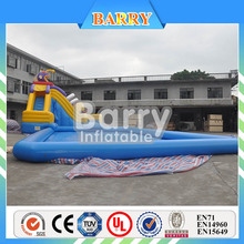 China factory inflatable pool slide with climbing wall,inflatable pool with slide