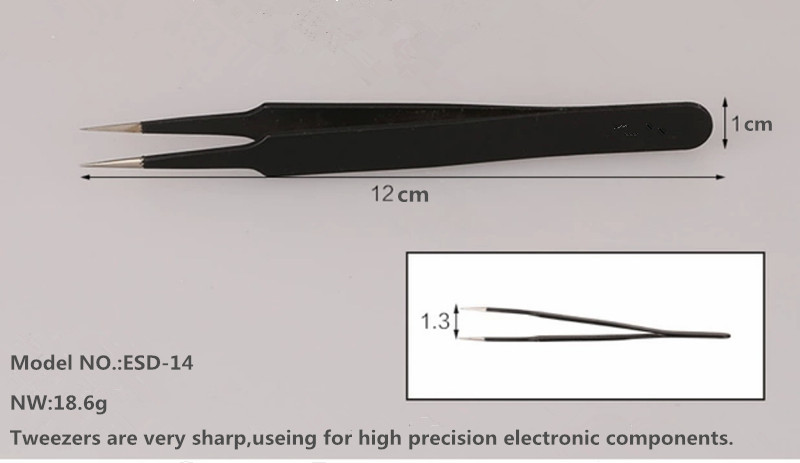 ESD-14 ESD Stainless Steel Tweezers For Electronic