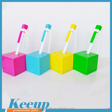Cheap Customized Branded Candy Colour Plastic Square Cube Desk Pen counter pen table pen Ball Point