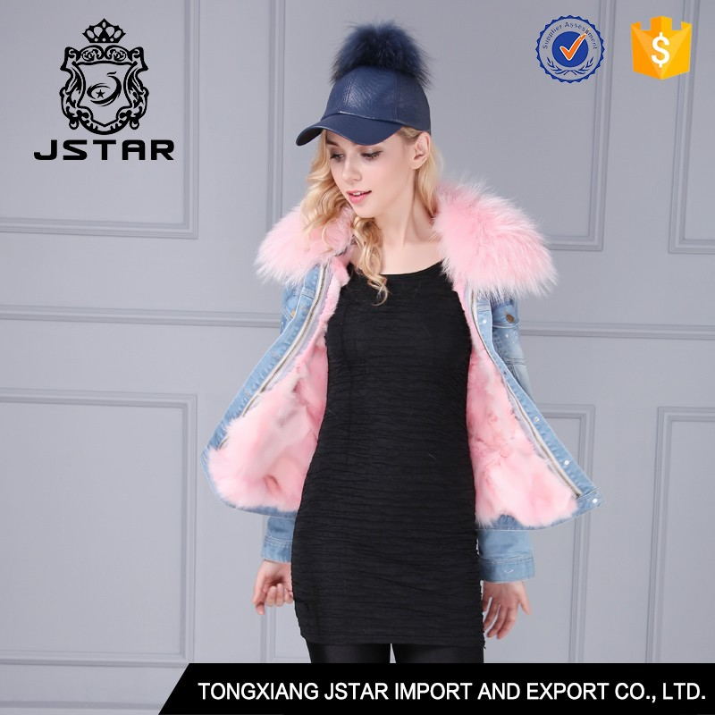 Wholesale boyfriend style winter denim jacket with fur collar