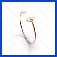 2015 factory direct supply 2 colors plating with shell pearl well polished Latest Fashion Evil Eye Bangle