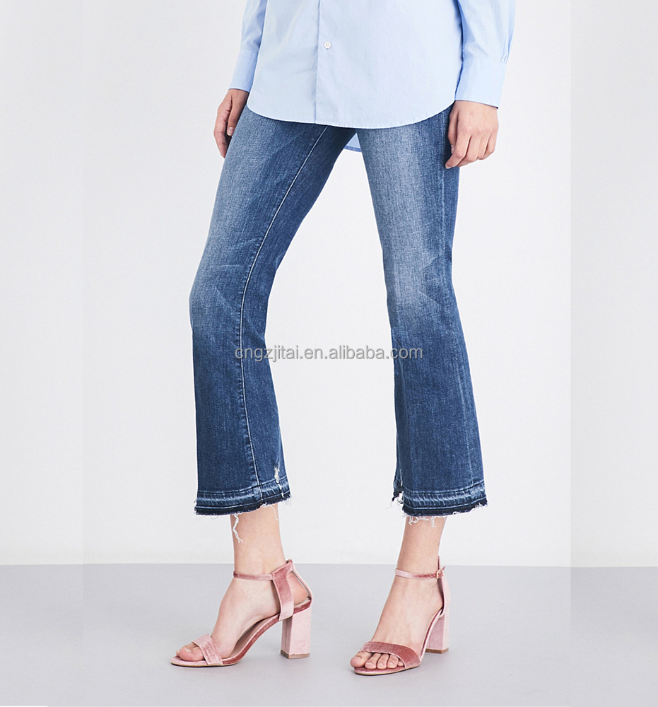 Women's summer jeans crop mini flared high-rise jeans