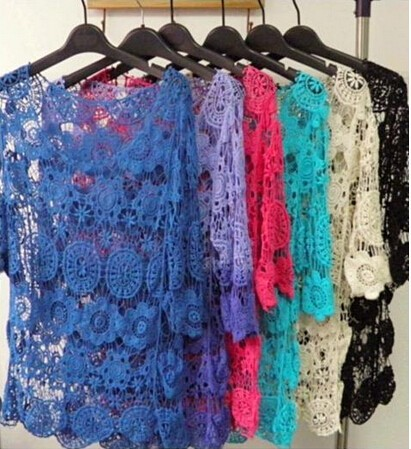 "Instyles <span class=""wholesale_product""></span> Women Blouse Spring Summer Crochet Lace Tops Hollow Out Lac Clothing"