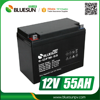 Bluesun 12v 55ah deep cycle rechargeable battery for solar car battery charger