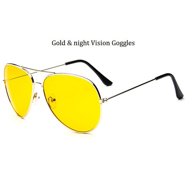 Classical Aviator Sunglasses Night Vision Goggles Yellow Lens Men Luxury Brand Sunglasses Women 2017 Sun Glasses Lunette