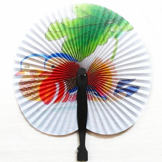 mandarin duck folding paper fan manual lovebirds crafts wedding gift