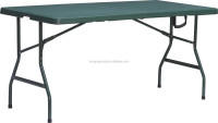 Lightweight outdoor furniture 5ft plastic folding steel legs picnic camping table(blow mold, suitcase, green)