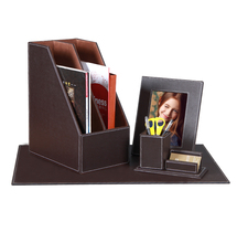 6 Pieces Leather Desk Set Office Desktop pen drive organizer for office