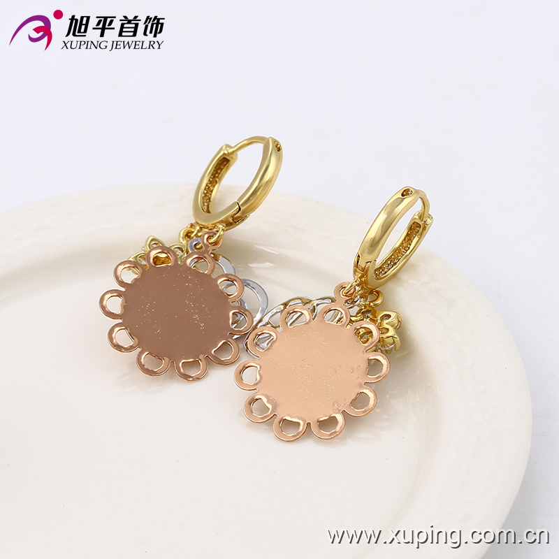 21368 Xuping new design beautiful earrings Multicolor gold plated diamond earrings