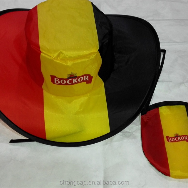 Promotional Cheap Nylon Folding Factory Directly Supply Cowboy Hat Cap With Pouch