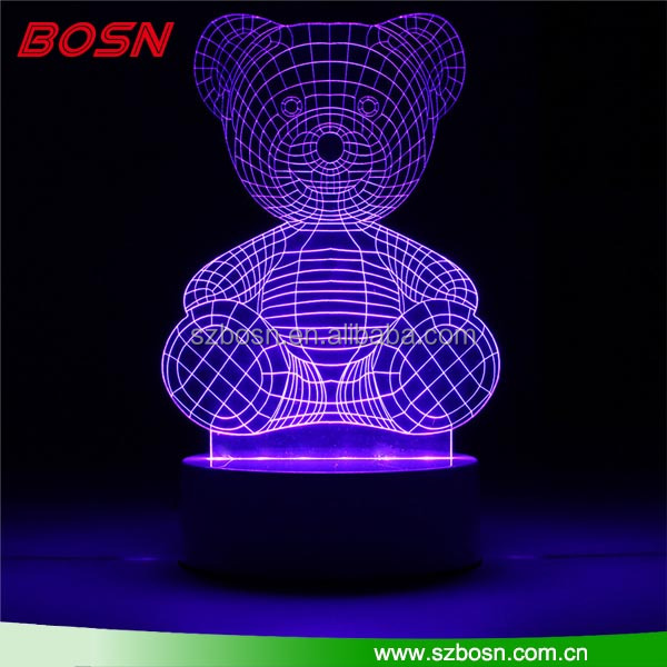 light base crystal led glass 3d laser 7color RGB with remote