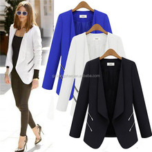 European fashion formal wear ladies business blazer suit satin buttonless plain dyed breathable coat women winter jacket