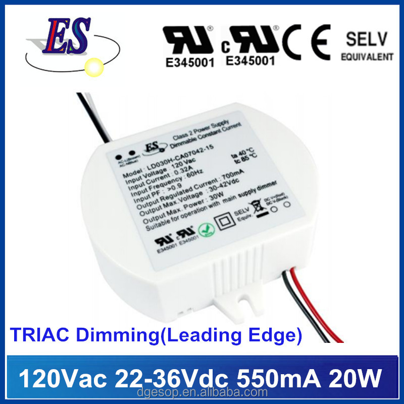 20W 550mA 22-36Vdc C.C Triac Dimming LED Driver,Leading edge dimmable Power Supply