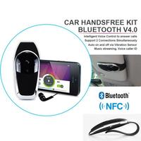 New 2014 Wireless Stereo Bluetooth 4.0 Handsfree Speakerphone Car Kit With USB Charger Hands Free Bluetooth Car Kit