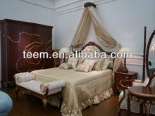 2014 Divany european classic bedroom set four poster bed leather king size bed BA-1406