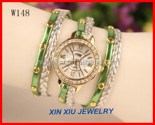 Fashion Shinning PU Leather Bracelet Watch