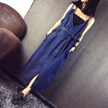 Yiwu Women Spaghetti Sleeveless Long dress V neck Backless Denim Long Maxi dress