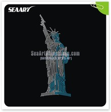 the statue of liberty crystal hot fix rhinestone transfer trim for garment
