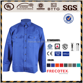 workwear jacket 75%Cotton 24%Polyester 1% Antistatic 350GSM Sateen FR Antistatic Anti Acid Clothing