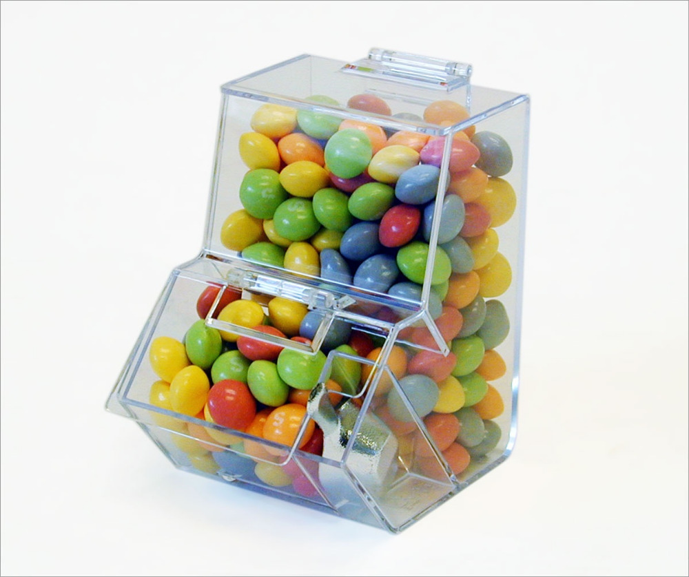 Customized clear 3d deisgn for candy display rack of acrylic candy display case