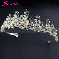 Delicate Handmade Silver Color King Queen Wedding Bridal Tiara Crown for Pageant Prom Party