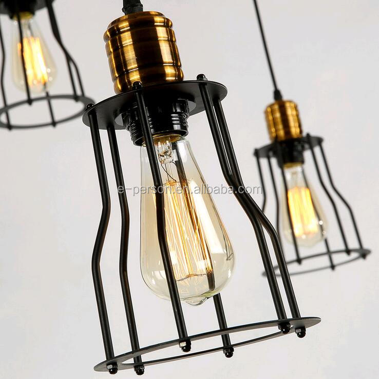 Industrial Black Iron Cage Shade Pendant Lights Modern Drop Lights For Hotel