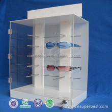 customised free standing acrylic sunglass eyeglasses display case with lock