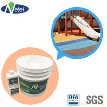Double component polyurethane adhesive for rubber flooring installation