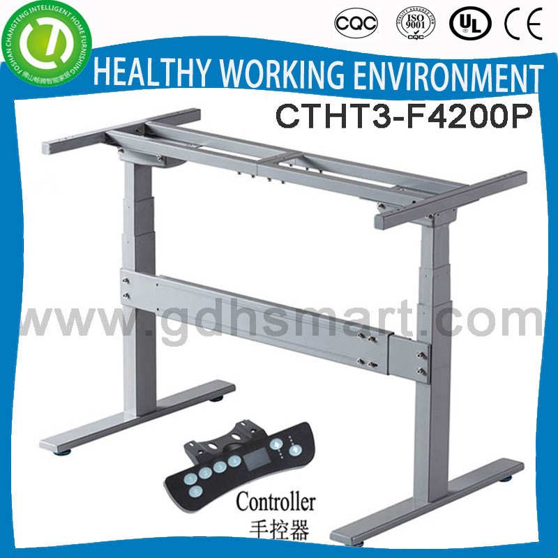 Button height adjustable folding desk base & table leg