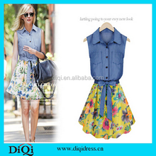 Women Summer Fashion Casual Sexy European and American Sleeveless Denim Shirt Dress Printed Chiffon Princess Dress