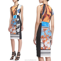 Oem custom china factory floral printed midi lady trend brand name clothing