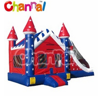 Popular Inflatable Christmas Decoration Bouncer Castle with Slide for Sale