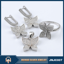 Jewelry manufacturer china wholesale fashion butterfly shape cz 925 silver jewelry party