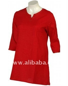 Red Mid Thigh Kurta