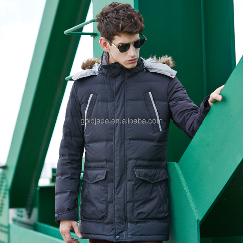 Custom enlongated style super warm lining winter jacket with hood mens down jackets