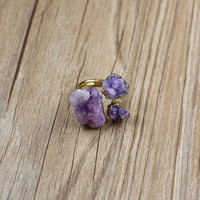 LS-D1787 3 pcs Natural Amethyst Quartz Druzy Crystal Drusy Finger Gemstone Ring, Gold Plated Adjustable Ring