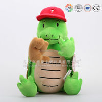Cartoon plush soft toy tortoise with hat