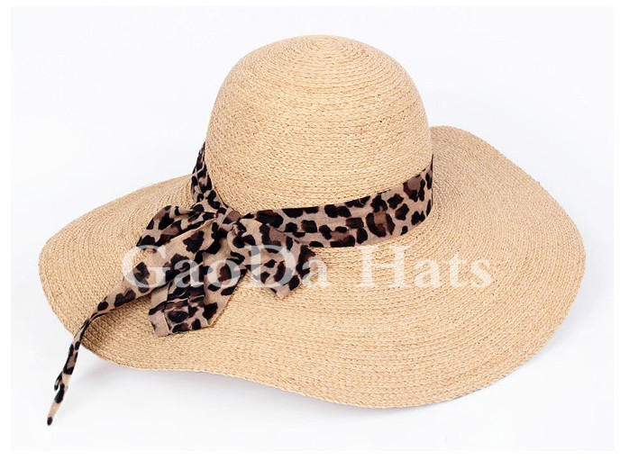 Large flat brim summer sunshade raffia straw girls hat