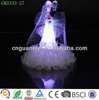 wedding decoration glass bride and groom with color changing led light