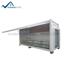Prebuilt one side folded coffee shop with portable containers for sale