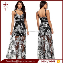 Wholesale Embroider Long Mesh Floral sleeveless maxi Dress